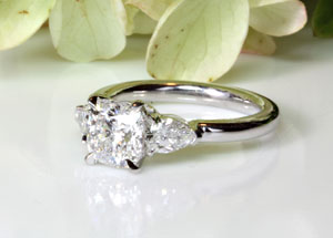 Cushion Cut Diamond with Pear Shape Side Diamonds